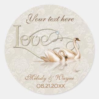 Elegancia del cisne del damasco etiqueta redonda