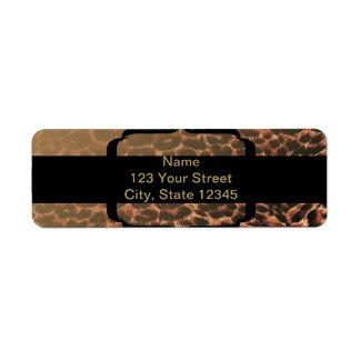 Elegancia del estampado leopardo etiquetas de remite