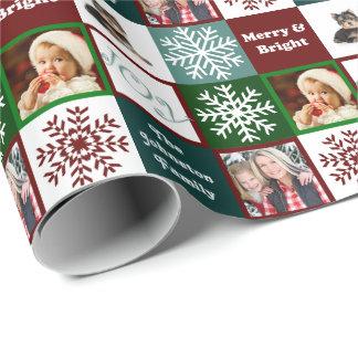 Elegancia del invierno de las fotos de familia de papel de regalo