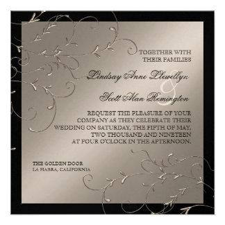 Elegancia del lazo negro invitaciones de la bodas comunicado personalizado