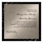 Elegancia del lazo negro, invitaciones de la bodas comunicado personalizado