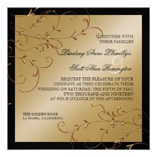 Elegancia del lazo negro invitaciones del boda de comunicado