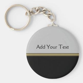 Elegancia del monograma en oro gris negro llavero redondo tipo pin