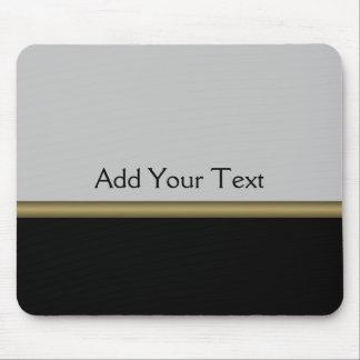 Elegancia del monograma en oro gris negro mouse pad