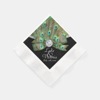 Elegancia del pavo real y boda de diamantes servilletas desechables