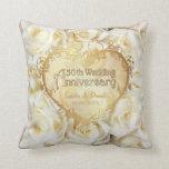 Elegancia del rosa blanco - 50.o aniversario de almohada