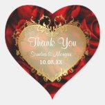 Elegancia del rosa rojo - gracias calcomanía de corazón personalizadas