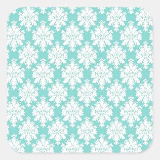 Elegancia en damasco pegatinas cuadradas personalizadas