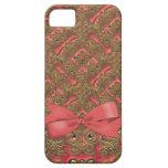 Elegancia floral adornada coralina y de oro iPhone 5 Case-Mate cárcasas
