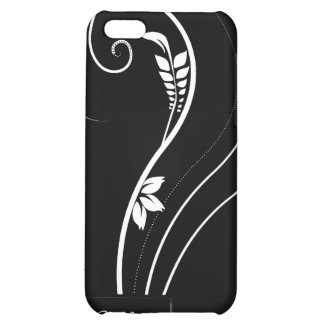Elegancia floral blanca en iPhone4 negro