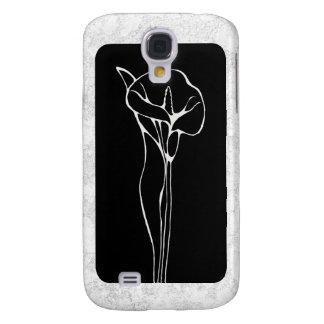 Elegancia floral de la cala en blanco y negro funda para galaxy s4