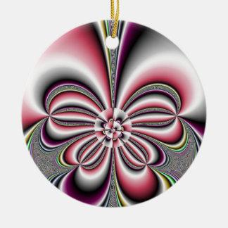 Elegancia floreciente adorno navideño redondo de cerámica