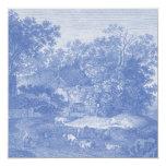 Elegancia lamentable del país Blue Toil de Jouy Invitación 13,3 Cm X 13,3cm