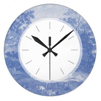 Elegancia lamentable del país Blue Toil de Jouy Reloj Redondo Grande