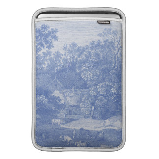 Elegancia lamentable del país Blue Toile de Jouy f Funda MacBook