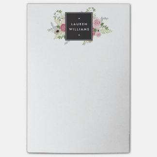 Elegancia moderna de los rosas rosados hermosos nota post-it