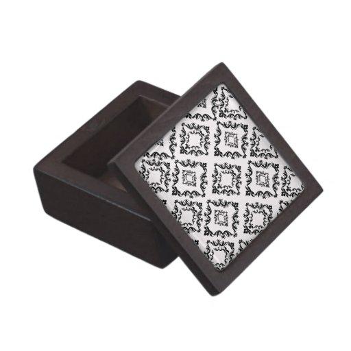 elegancia negra blanca del damasco del diamante caja de regalo de calidad
