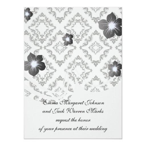 elegancia negra blanca del damasco del diamante invitación 16,5 x 22,2 cm