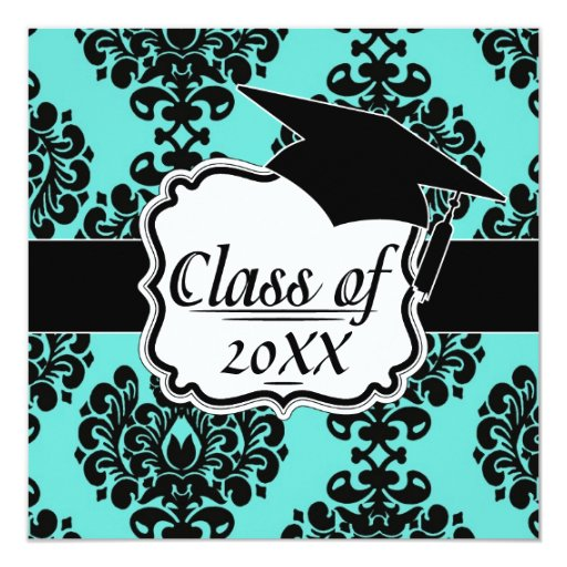 """elegancia negra del damasco en la graduación del invitación 5.25"""" x 5.25"""""""