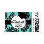 elegancia negra del damasco en la graduación del sello