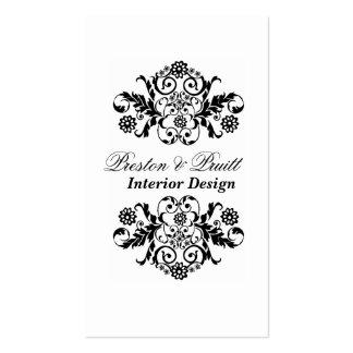 Elegancia real blanco y negro profesional tarjetas de visita