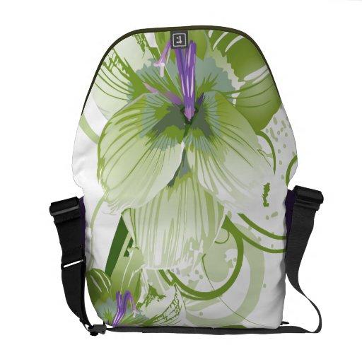 elegancia verde floral bolsas de mensajería