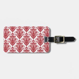Elegand dark red vintage damask pattern bag tag