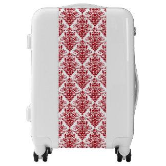 Elegand dark red vintage damask pattern luggage