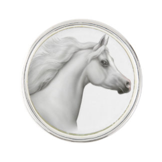 Eleganr Gray Arabian Horse Lapel Pin
