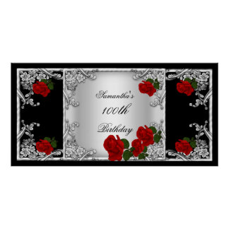 Elegant 100th Birthday Party Red Rose Silver Poster