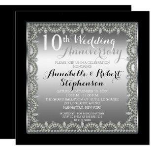 Elegant 10th Silver And Diamonds Anniversary Invitation