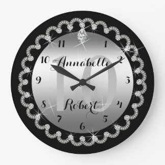 Elegant 10th Silver and Diamonds Anniversary Large Clock