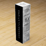 "Elegant 10th Tin Wedding Anniversary Celebration Wine Box<br><div class=""desc"">Add an extra special touch to 10th wedding anniversary celebrations with this commemorative wine gift box! Elegant black serif and sans serif lettering with hexagonal confetti on a tin background add a memorable touch for this special occasion and milestone. Customize with the happy couple&#39;s names and the years of marriage...</div>"