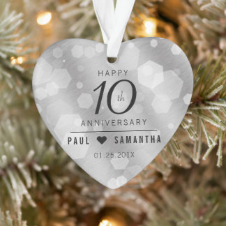 Elegant 10th Tin Wedding Anniversary Ornament
