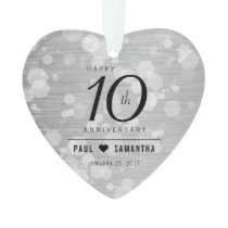 Elegant 10th Tin Wedding Anniversary Ornament