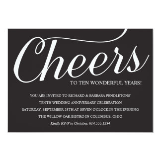 Elegant 10th Wedding Anniversary Party Invitation