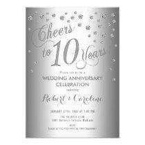 Elegant 10th Wedding Anniversary - Silver White Invitation