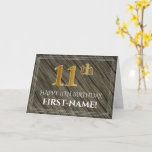 [ Thumbnail: Elegant 11th Birthday: Faux Wood, Faux Gold Look Card ]