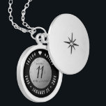 """Elegant 11th Steel Wedding Anniversary Celebration Locket Necklace<br><div class=""""desc"""">Commemorate the 11th wedding anniversary with this elegant locket! Elegant black and white serif and sans serif lettering on a diamond-plated, worn steel background add a memorable touch for this special occasion and milestone. Customize with the happy couple's names, and dates for their steel anniversary. Design © W.H. Sim, All...</div>"""