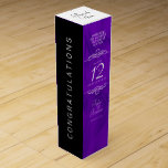 """Elegant 12th Silk Wedding Anniversary Celebration Wine Box<br><div class=""""desc"""">Add an extra special touch to 12th wedding anniversary celebrations with this commemorative wine gift box! Elegant white serif and sans serif lettering on a luxurious purple silk background add a memorable touch for this special occasion and milestone. Customize with the happy couple's names and the years of marriage or...</div>"""