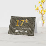[ Thumbnail: Elegant 17th Birthday: Faux Wood, Faux Gold Look Card ]