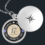 """Elegant 17th Shells Wedding Anniversary Locket Necklace<br><div class=""""desc"""">Commemorate the 18th wedding anniversary with this elegant locket! Elegant black and white serif and sans serif lettering with stylized seashells on a beach sand white background add a memorable touch for this special occasion and milestone. Customize with the happy couple's names, and add dates for their shells anniversary. Design...</div>"""