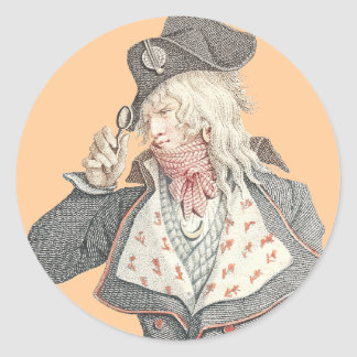 Elegant 18th Century Frenchman with a Monacle Round Sticker