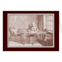 Elegant 18th Century Gentleman Writing Calligraphy Card