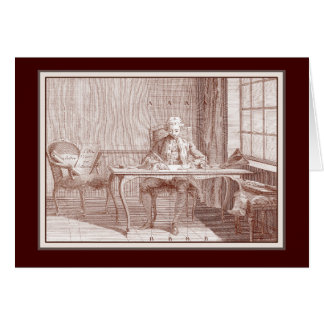 Elegant 18th Century Gentleman Writing Calligraphy Cards