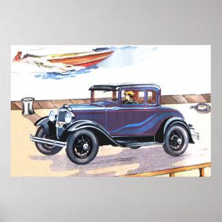 Elegant 1920s Vintage Automobile In Blue Print
