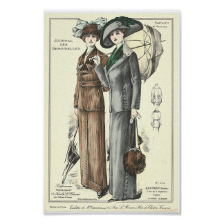 Elegant 19th women with umbrella French fashion Poster
