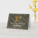 [ Thumbnail: Elegant 1st Birthday: Faux Wood, Faux Gold Look Card ]