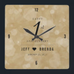 """Elegant 1st Paper Wedding Anniversary Celebration Square Wall Clock<br><div class=""""desc"""">Celebrate the 1st wedding anniversary with this commemorative clock! Elegant black serif and sans serif lettering with hexagonal confetti on an aged paper background add a memorable touch for this special occasion and milestone. Customize with the happy couple&#39;s names. Add even more customization with a date for the paper anniversary....</div>"""