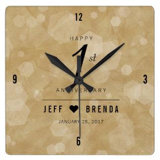 Elegant 1st Paper Wedding Anniversary Celebration Square Wall Clock